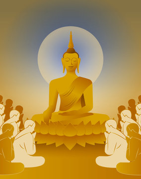 beautiful Vector of Lord of gold en Buddha Enlightenment mediating sitting on lotus flower with crowd of monk for Makha, Visakha, Asarnha Bucha, Visak and buddhist lent day blue background retro style