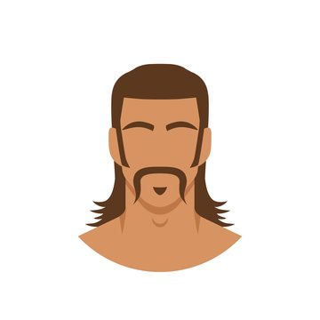 Face of man with mustache and mullet hairstyle