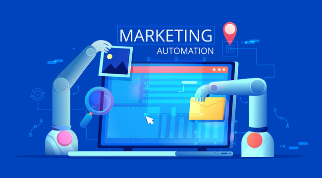 Marketing Automation. Computer with a site that builds the robot's hands. Vector flat illustration