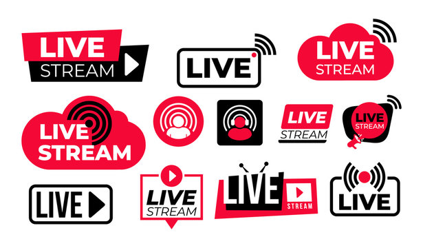 Set of live streaming vector icons. Red and black symbols and buttons of live streaming, broadcasting, online stream. Design for tv, shows, movies and live performances. Isolated on white background.