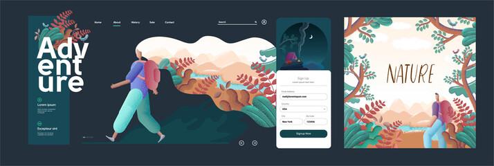 Vector illustration. A traveler or explorer stands in the background of nature. The concept of the site is discovery, exploration, hiking, adventure tourism and travel. Website template.