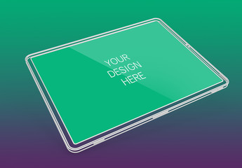 Wireframe Tablet Screen Mockup with Editable Background
