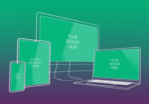 Wireframe Multi-Device Mockup with Editable Background