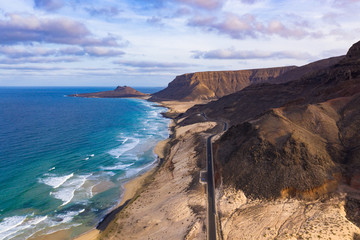 Fototapeten Schokobraun Aerial view of Mindelo coastline beach in Sao Vicente Island in Cape Verde