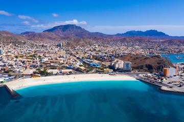 Foto auf Leinwand Himmelblau Aerial view of Laginha beach in Mindelo city in Sao Vicente Island in Cape Verde