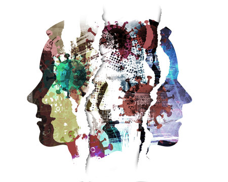 Pandemic of coronavirus, depression, human tragedy. Male heads, grunge expressive composition of stylized silhouettes shown in profile. Imitation of watercolor painting symbolizing pandemic COVID 19.