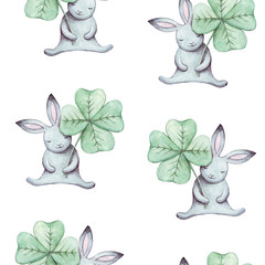 Cute seamless pattern watercolor cartoon bunny with green clover. Summer illustration. For baby textile, fabric, print and wallpaper.