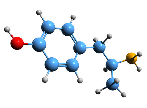 3D image of 4-Hydroxyamphetamine skeletal formula - molecular chemical structure of 4HA isolated on white background