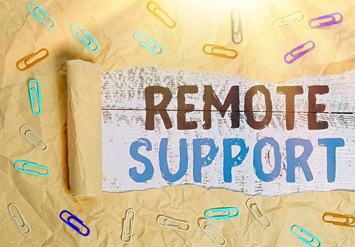 Conceptual hand writing showing Remote Support. Concept meaning type of secure service, which permits representatives to help