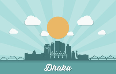 Fototapete - Dhaka skyline - Bangladesh - vector illustration