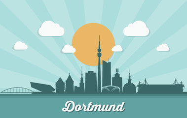 Fototapete - Dortmund skyline - Germany - vector illustration
