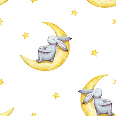 Cute seamless pattern watercolor cartoon bunny with crescent moon and yellow stars. Kids illustration. For baby textile, fabric, print and wallpaper.
