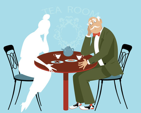 Sad elderly man sitting at the table missing his  departed wife, EPS 8 vector illustration