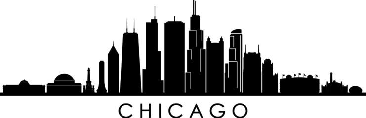 Fototapete - CHICAGO ILLINOIS City Skyline Silhouette Cityscape Vector