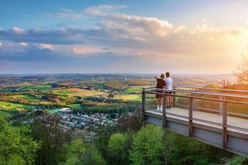 Saarland – Blick vom Schaumberg mit Aussichtsplattform über Tholey und Landschaft –View from Schaumberg with Platform and Landscape