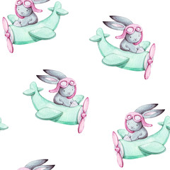 Cute seamless pattern watercolor cartoon bunny on blue airplane. Kids illustration. For baby textile, fabric, print and wallpaper.