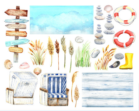 Beach clipart with signpost, shells, lifebuoys, rain boots, white wooden, beach chairs, sky, blades of grass   Stock illustration. Isolated element on a white background. Hand painted in watercolor.