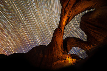 Star trails over Double Arch, Arches National Park, Utah
