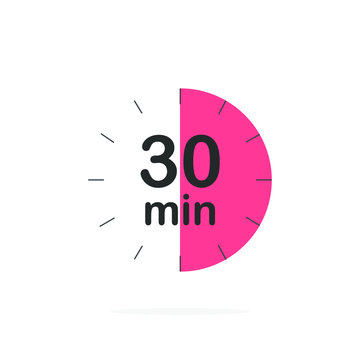 30 minutes timer. Stopwatch symbol in flat style. Editable isolated vector illustration.