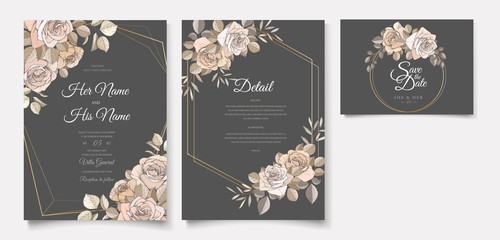 wedding invitation card with floral designs Fototapete
