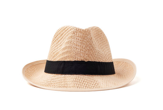 Vintage straw hat for women fashion on summer isolated on withe background with clipping path