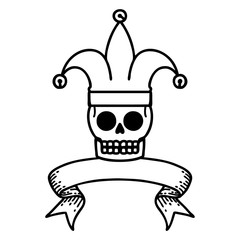 black linework tattoo with banner of a skull jester