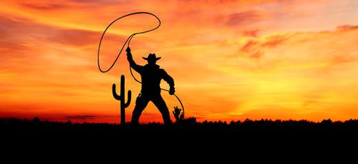Foto auf AluDibond Rotglühen Landscape of cowboy background concept.