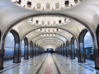 Printed kitchen splashbacks Moscow Metro station in moscow A beautiful architecture that is known People's Palace