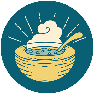 icon of tattoo style bowl of soup
