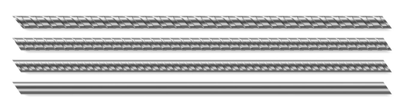 Metal rod, steel reinforced rebar. Vector realistic set of construction armature, smooth and deformed iron bars for buiding, cage, rack or prison grate. Stainless fittings isolated on white background