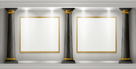 Museum interior in antique castle with blank paintings in golden frames illuminated by spotlights. Vector realistic empty gallery room with black marble columns