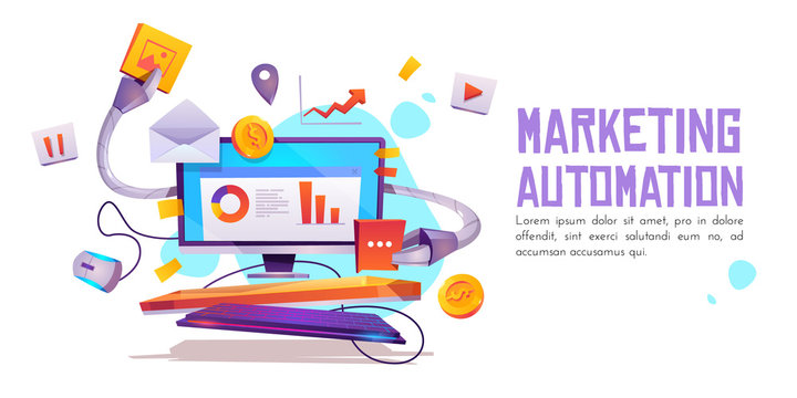 Marketing automation banner. Technology for SEO, internet, digital business content. robot Computer desktop with robot hands holding office attributes and media icons. Cartoon vector illustration