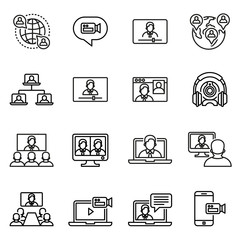 Business communication, Video conference icon set with white background. Thin line style stock vector.