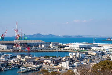 Landscape of industrial area at Marugame city in the Seto Inland Sea ,Kagawa, Shikoku, Japan