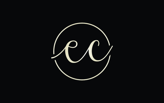 ec or ce and e or c Lowercase Cursive Letter Initial Logo Design, Vector Template