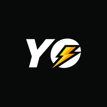 Initial Letter YO with Lightning