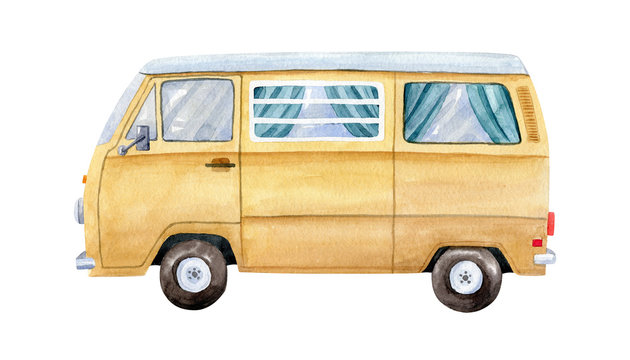 Vintage yellow minivan isolated on white background, side view. Watercolor illustration, hand dawn clipart.