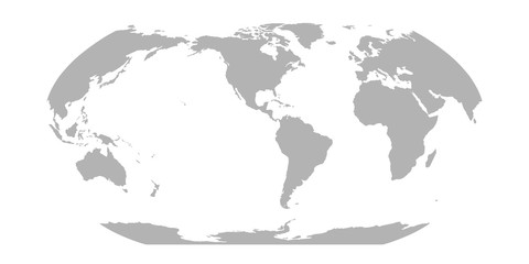Wall Mural - World Map in Robinson Projection. Americas centered. Solid gray land silhouette. Vector illustration