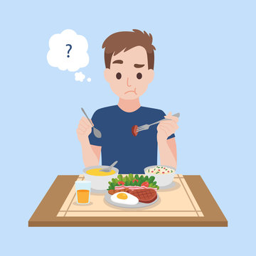 Tasteless, A Upset man eating food that is tasteless of corona virus Symptoms, Health care concept.