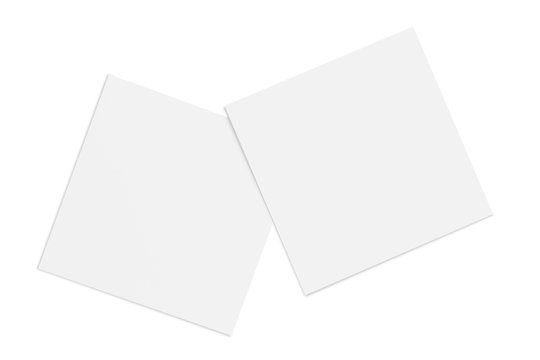 Two paper or plastic pieces (cards, tickets, flyers, invitations, coupons, banknotes, etc.), isolated on white background