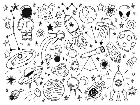 Hand drawn space. Doodle space planets, astrology cosmic doodles, telescope, cosmic rocket, spacecrafts. Universe doodle vector illustration set. Rocket astronaut, spacecraft satellite