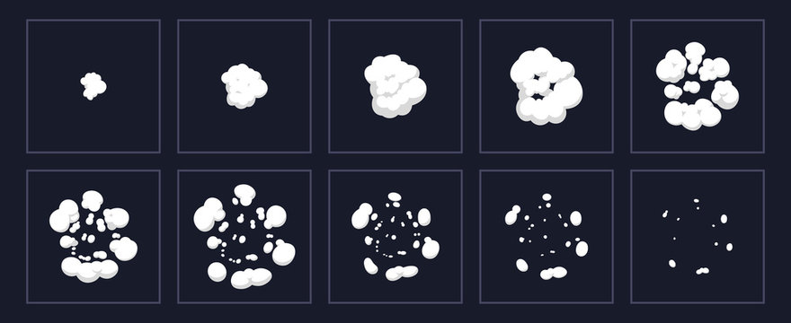 Smoke explosion animation. Cartoon explosion animated shot, explode clouds frames. Exploding effect storyboard isolated vector illustration set. Movement puff effect, flash motion boom
