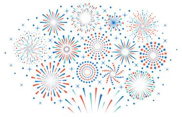 Happy 4th July fireworks. Celebration firework explode, carnival party firecracker explosions. Colorful festival fireworks vector illustration. Sparkle firecracker, graphic explosive sparkling