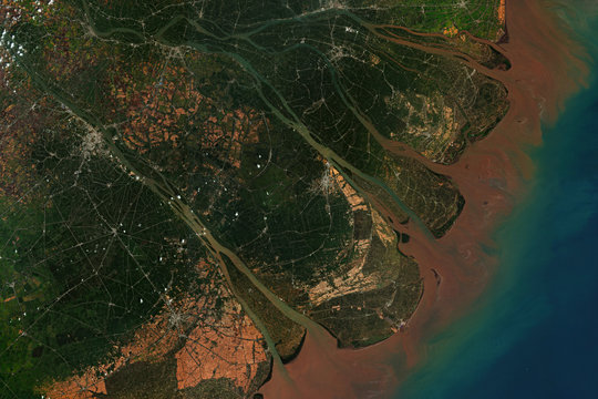 Mekong River Delta in Vietnam, where the Mekong River approaches and empties into the South China Sea, seen from space - contains modified Copernicus Sentinel Data (2020)