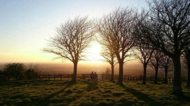 Rear View Of Silhouette People Sitting On Bench At Werneth Low Country Park During Sunset
