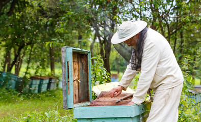 Handsome beekeeper in protective uniform checking the beehive