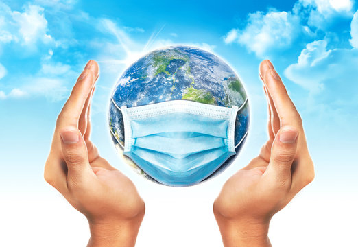 Hand protect the earth wearing protection face mask