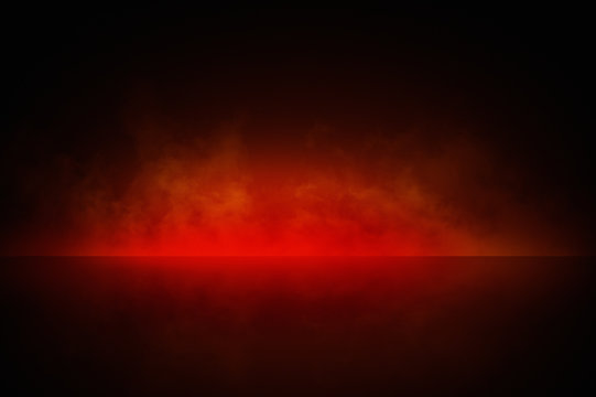 Abstract red smoke background for product photography, horizontal. Tabletop immitation