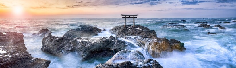Oarai Isosaki Shinto shrine with torii gate at sunrise, Ibaraki Prefecture, Japan  Fototapete