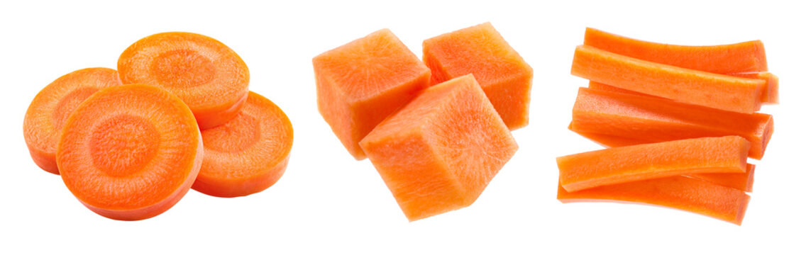 Carrot isolate. Carrots on white background. Carrot slice, sticks, cubes.